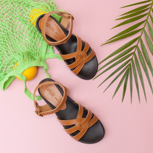 SPUR[스퍼][당일출고]PS7048 Twisted strap sandals 카멜