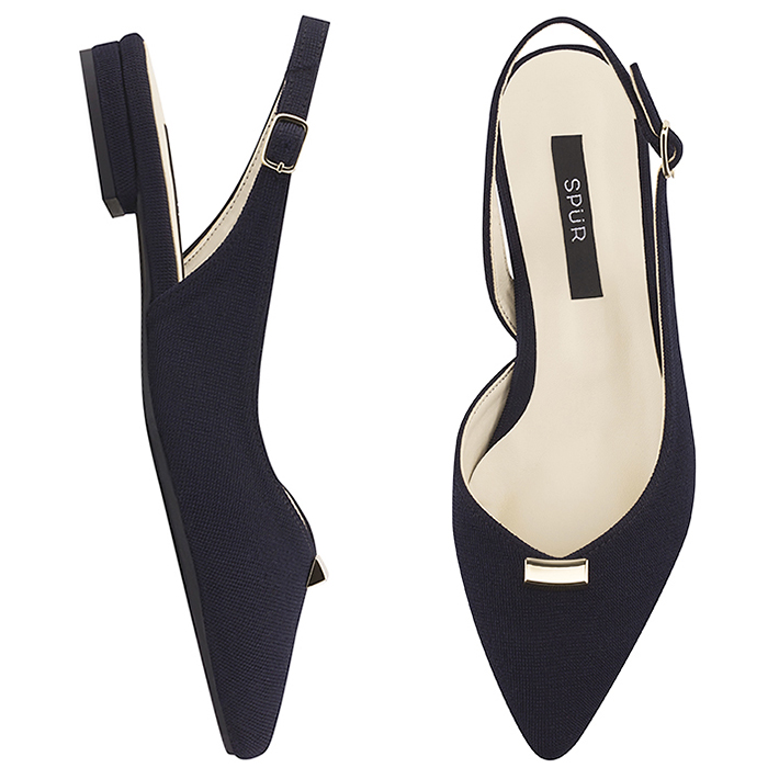 SPUR[스퍼][당일출고]PS8011 Triangle gold bar sling back 네이비